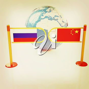 Three-dimensional image of the turnstile and flags of China and Russia on a white background . 3D illustration. Vintage style.