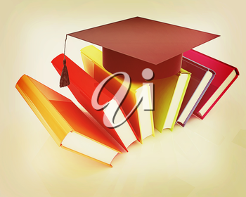 Colorful books and graduation hat on a white background. 3D illustration. Vintage style.
