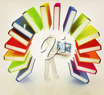 Colorful books like the rainbow and 3d man with laptop on a white background. 3D illustration. Vintage style.