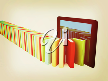 tablet pc and colorful real books on white background. 3D illustration. Vintage style.