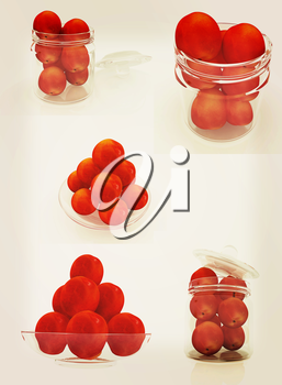 Set of peaches on a white . 3D illustration. Vintage style.