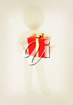 3d man gives red gift with gold ribbon on a white background. 3D illustration. Vintage style.
