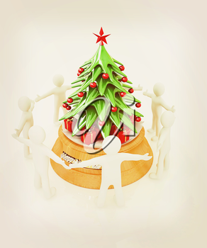 3D human around gift and Christmas tree on a white background. 3D illustration. Vintage style.