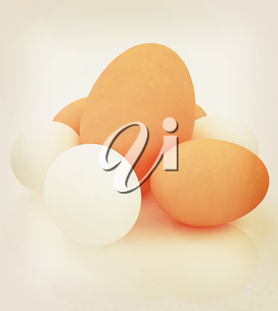 Big egg and eggs. 3D illustration. Vintage style.
