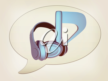 messenger window icon. Blue headphones and note. 3D illustration. Vintage style.