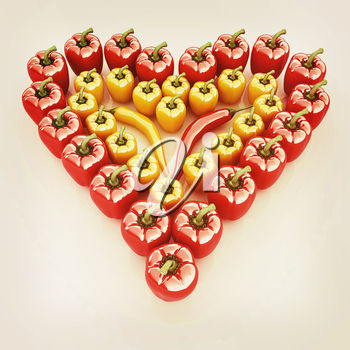 Bulgarian Pepper Heart Shape, On White Background. 3D illustration. Vintage style.