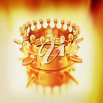 Gold crown isolated on gold background . 3D illustration. Vintage style.