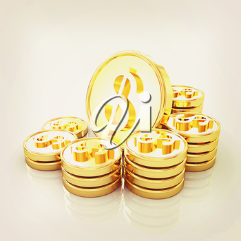 gold coin ctack on a white background . 3D illustration. Vintage style.