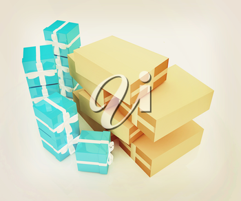 Cardboard boxes and gifts on a white background. 3D illustration. Vintage style.