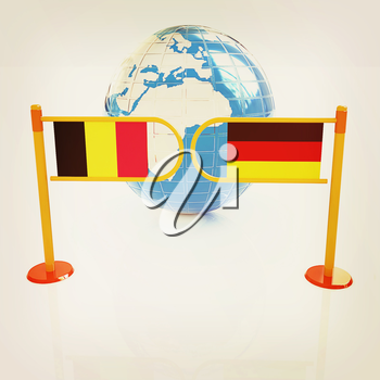 Three-dimensional image of the turnstile and flags of Germany and Belgium on a white background . 3D illustration. Vintage style.