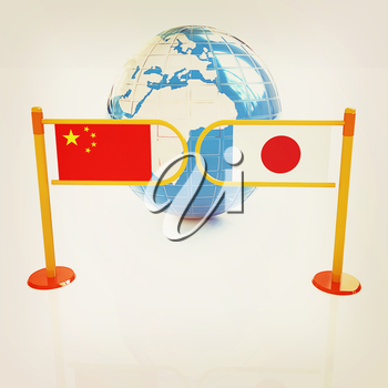 Three-dimensional image of the turnstile and flags of China and Japan on a white background . 3D illustration. Vintage style.