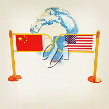 Three-dimensional image of the turnstile and flags of USA and China on a white background . 3D illustration. Vintage style.