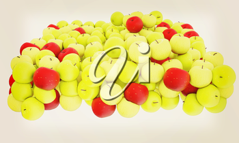 apples isolated on white. 3D illustration. Vintage style.