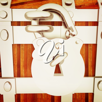 The chest - close-up. 3D illustration. Vintage style.