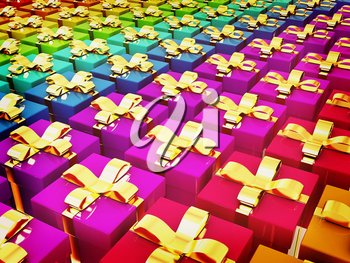 colorful gifts box. 3D illustration. Vintage style.