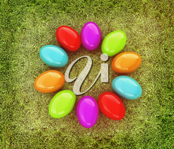 Colored Easter eggs as a flower on a green grass. 3D illustration. Vintage style.