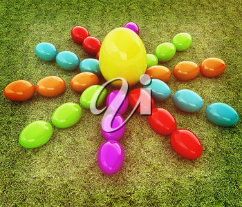Colored Easter eggs as a flower and Big Easter Egg in the centre on a green grass. 3D illustration. Vintage style.