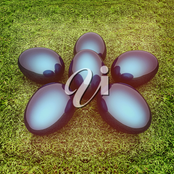 Metallic blue Easter eggs as a flower on a green grass. 3D illustration. Vintage style.