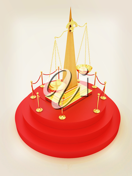 Gold scales of justice on 3d carpeting podium with gold handrail . 3D illustration. Vintage style.