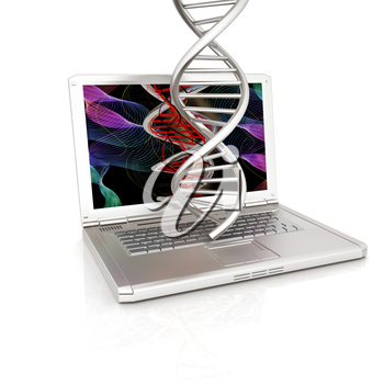 Laptop with dna medical model background on laptop screen. 3d illustration