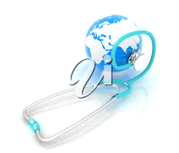 stethoscope and globe.3d illustration
