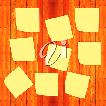 Mock-up of Sticky note paper on a wooden wall. 3D illustration