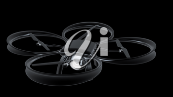 Drone, quadrocopter, with photo camera flying. 3d render