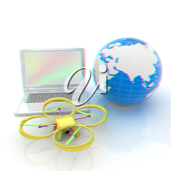 Drone or quadrocopter with camera with laptop. Network, online, buy, internet shopping, smart home. 3d render. Anaglyph. View with red/cyan glasses to see in 3D.