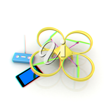 Drone, remote controller and tablet PC. Anaglyph. View with red/cyan glasses to see in 3D.