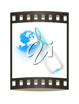 Stethoscope and Earth.3d illustration. The film strip
