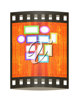 Mock up picture frames on wood wall. 3d illustration. The film strip