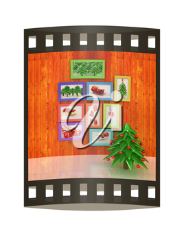Mock up poster on the wood wall with christmas tree and decorations. 3d illustration. The film strip