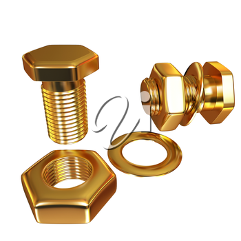 Gold Bolt with nut. 3d illustration