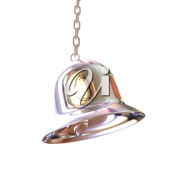 Shiny metal bell isolated on white background. 3d illustration