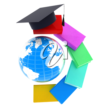 Earth of education with books around and graduation hat. Global Education. 3d illustration