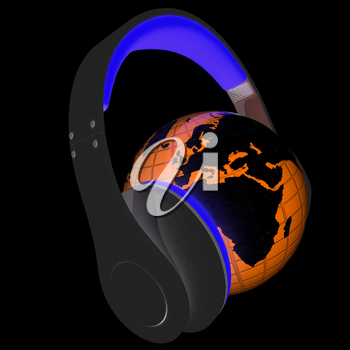 Abstract symbol music and earth. 3d illustration