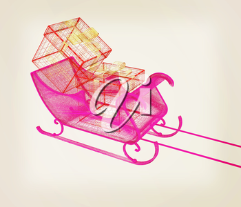 Concept of Christmas Santa sledge with gifts. 3d illustration. Vintage style