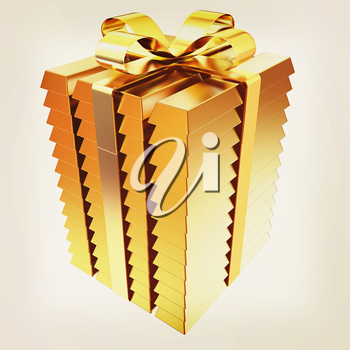 Stacked Gold Bars with gold Ribbon. 3d illustration. Vintage style