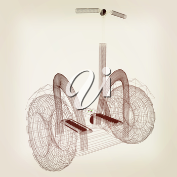Mini electrical and ecological transport on a white background. 3D illustration.. Vintage style