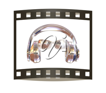 glasses and headphones. 3d illustration. The film strip.