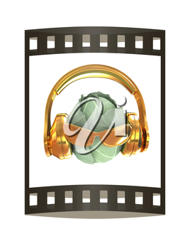 Green cabbage with sun glass and headphones front face on a white background. 3d illustration. The film strip.