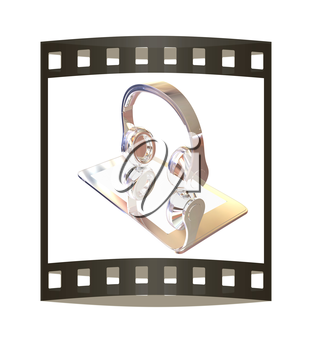 Smartphone with headphones. Chrome icon. 3d illustration. The film strip.