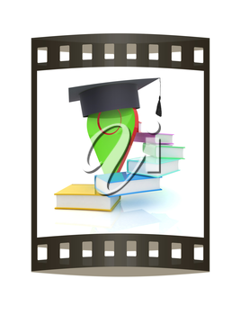 Pointer of education in graduation hat with books around. 3d illustration. The film strip.