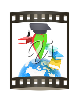 Pointer of education in graduation hat with books around and Earth. 3d illustration. The film strip.