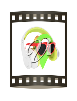 Glamour map pointer in sunglasses and headphones. 3d illustration. The film strip.