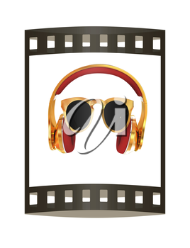 Sunglasses and headphone for your face. 3d illustration. The film strip.