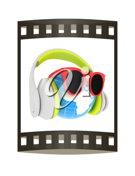 Earth planet with earphones and sunglasses. 3d illustration. The film strip.