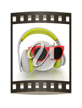 Golf Ball With Sunglasses and headphones. 3d illustration. The film strip.