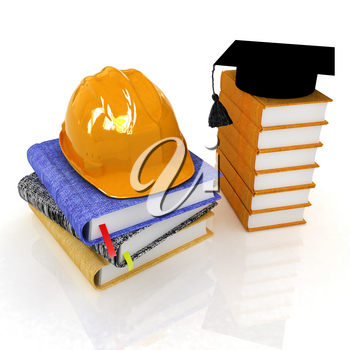 Hard hat and graduation hat on a leather books and notes. The concept of edication for work. 3d render