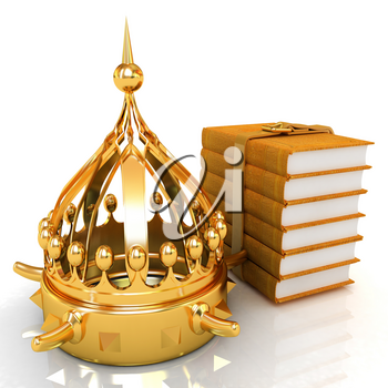 Gold crown and leather books. 3d render
